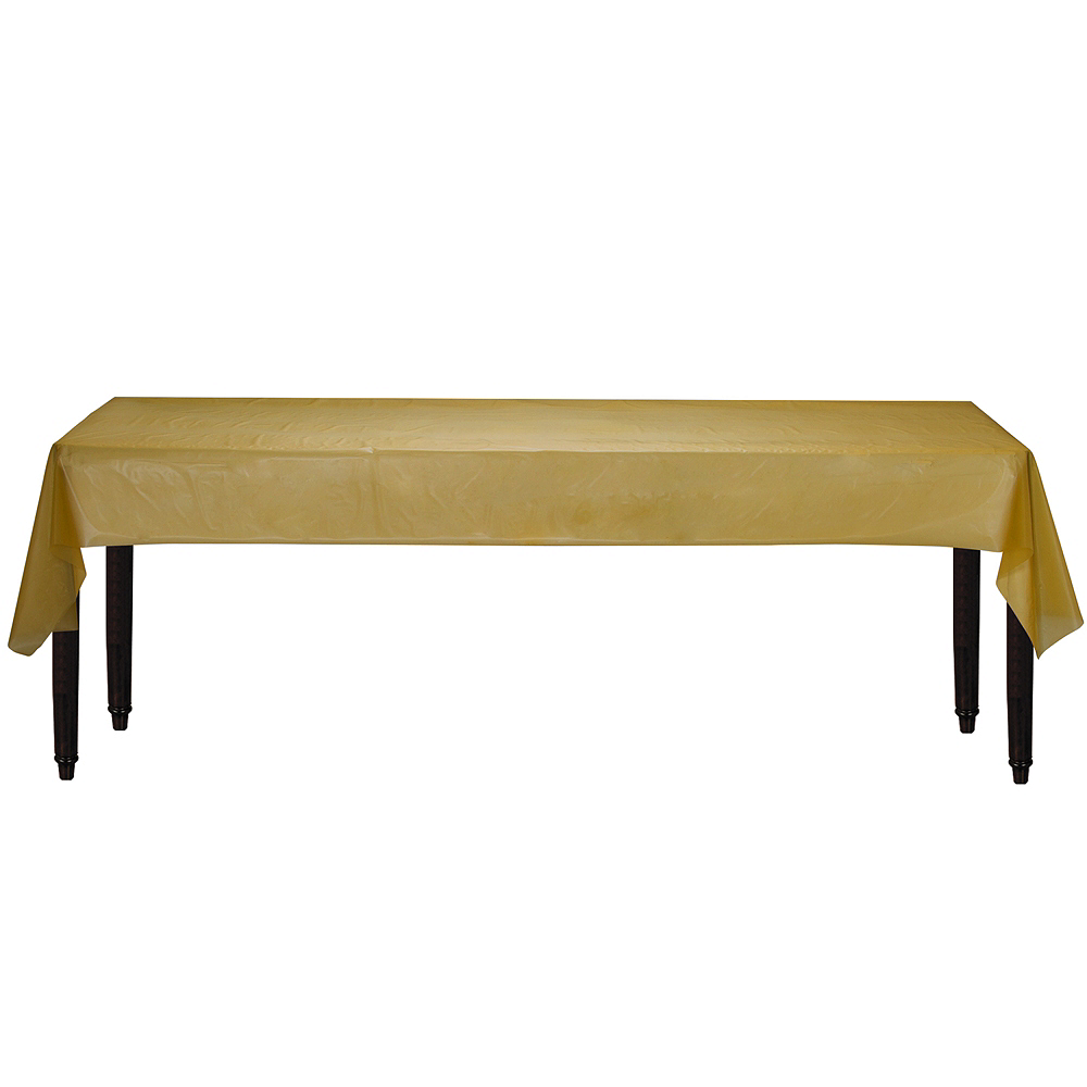 Gold Plastic Table Cover Roll Image #2