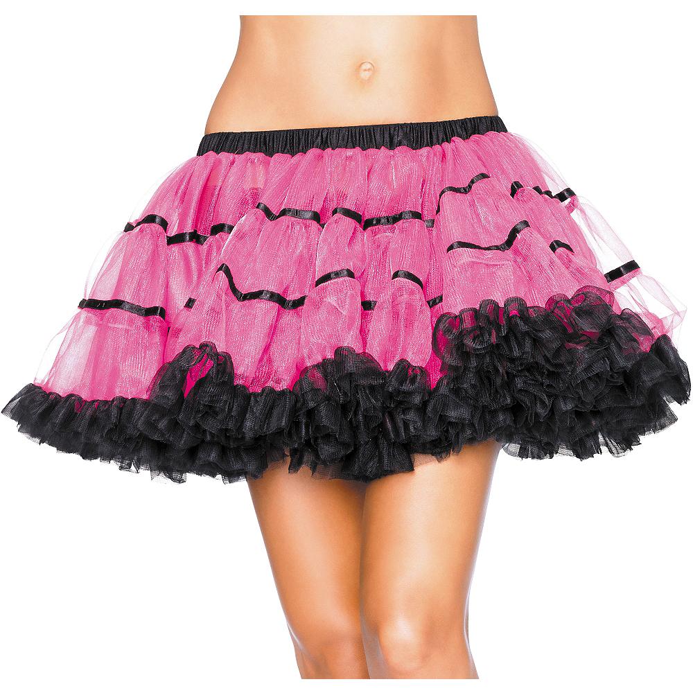 Adult Black & Pink Tulle Petticoat Image #1