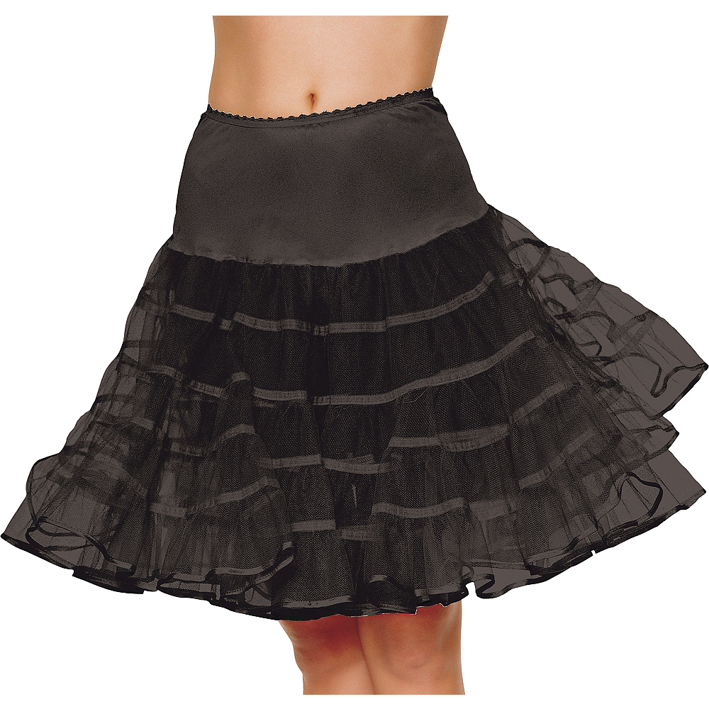 Adult Black Knee Length Petticoat Image #1