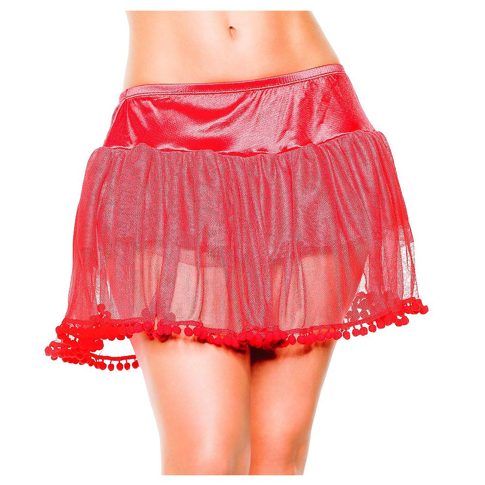 Adult Red PomPom Petticoat Image #1