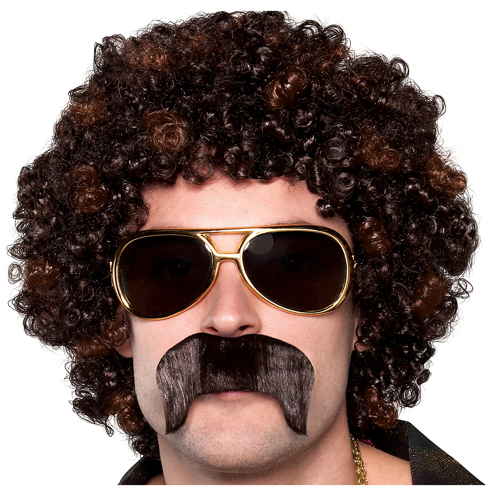 70s Disco Dirt Bag Wig & Moustache Image #1