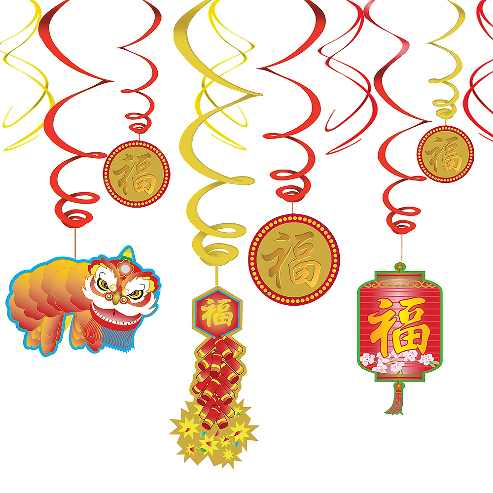 Chinese New Year Swirl Decorations 12ct | Party City