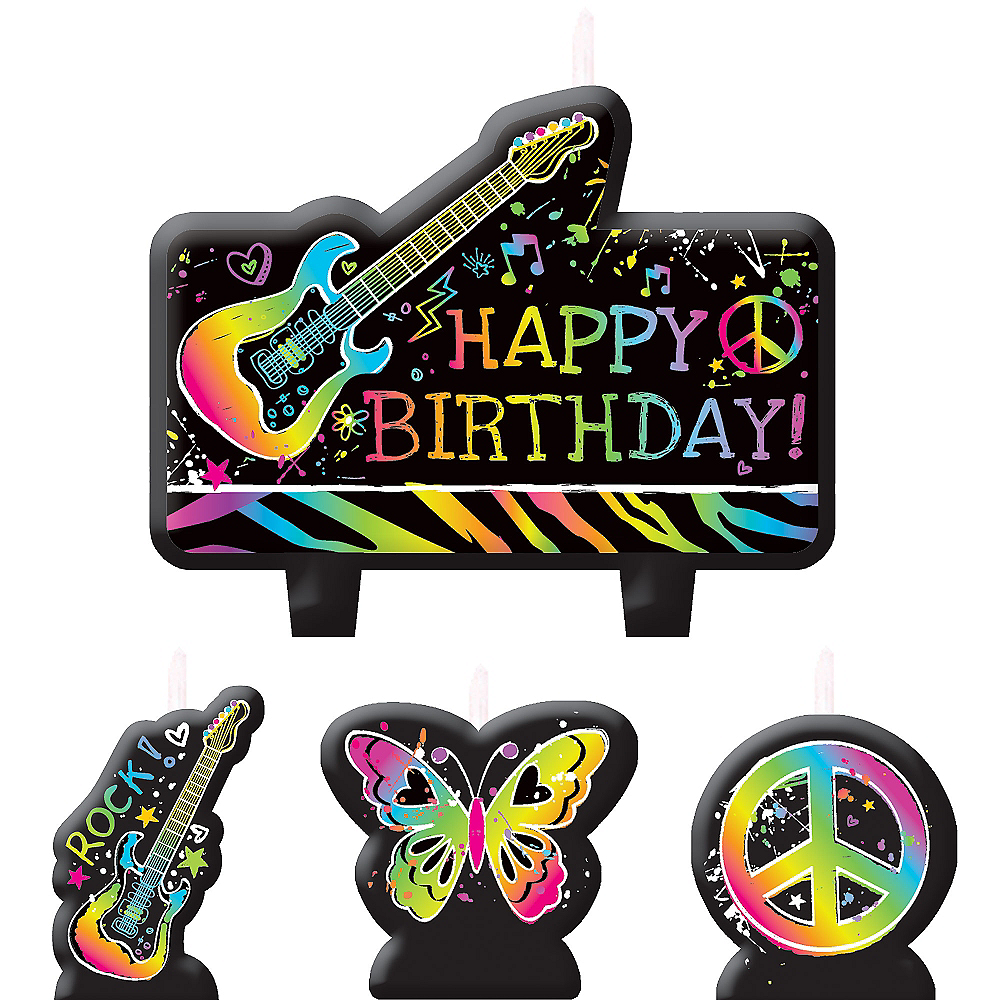 Neon Doodle Birthday Candles 4ct Image #1