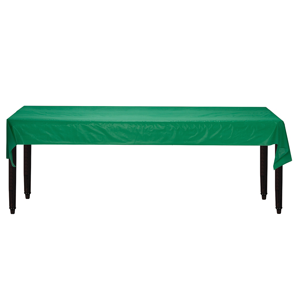 Festive Green Plastic Table Cover Roll Image #2