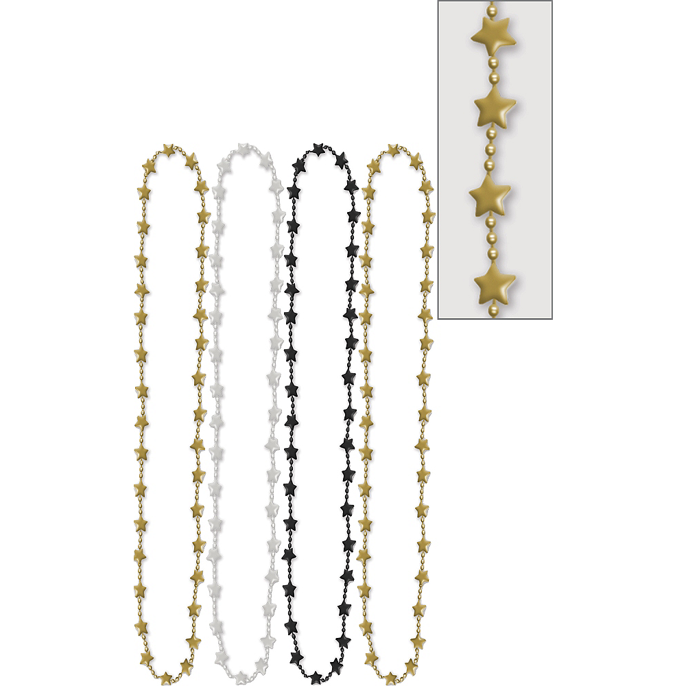 Metallic Black, Gold & Silver Star Bead Necklaces 42in 4ct Image #1