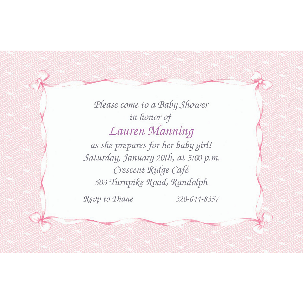 Custom pink lace bows baby shower invitations party city custom pink lace bows baby shower invitations filmwisefo