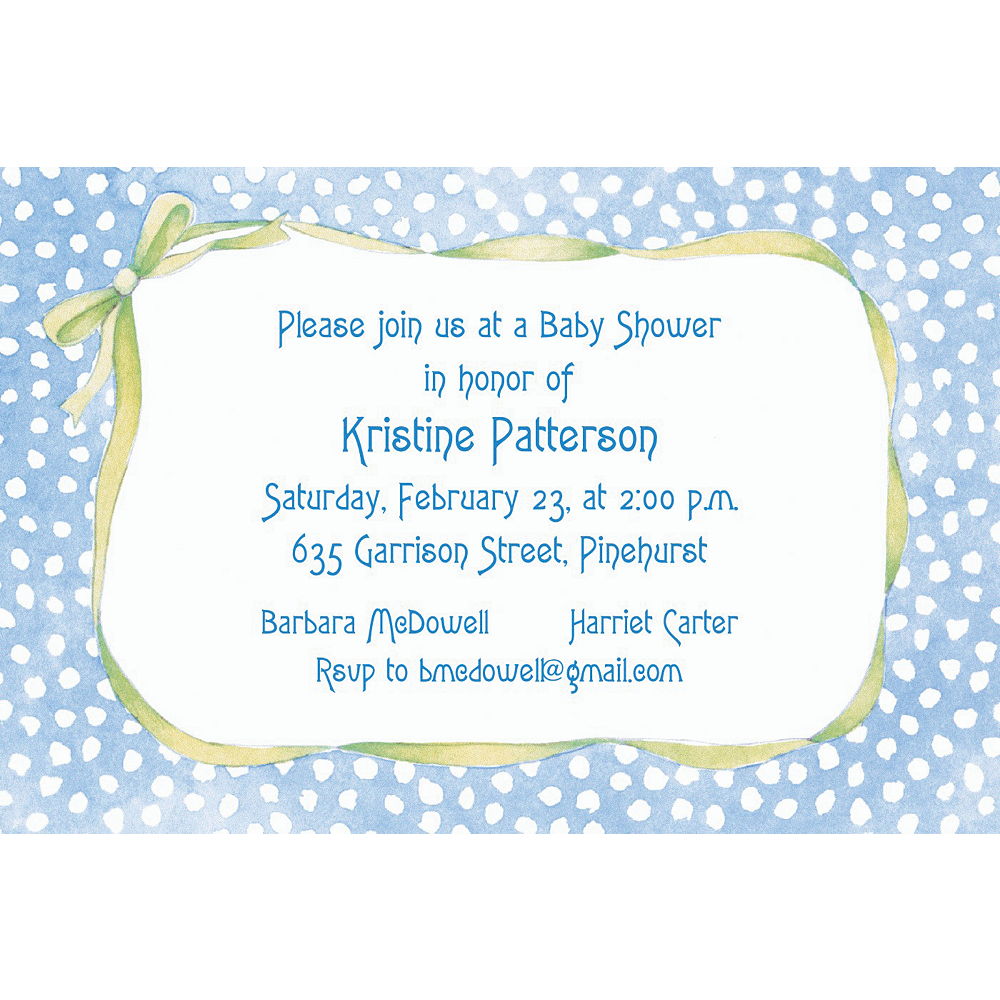 Custom Blue Polka Dots with Bow Baby Shower Invitations Image #1