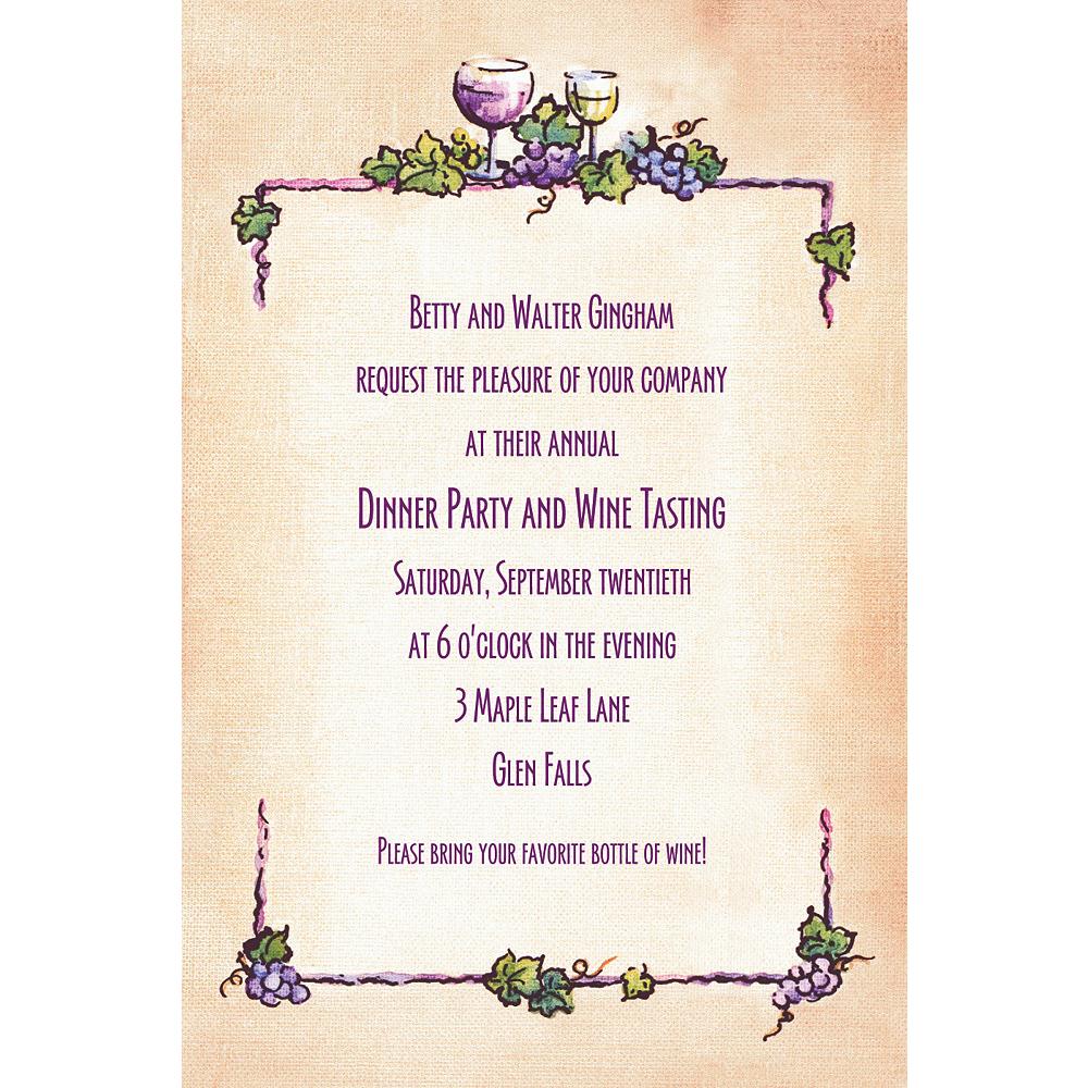 Custom Grapes & Wine Border Invitations Image #1