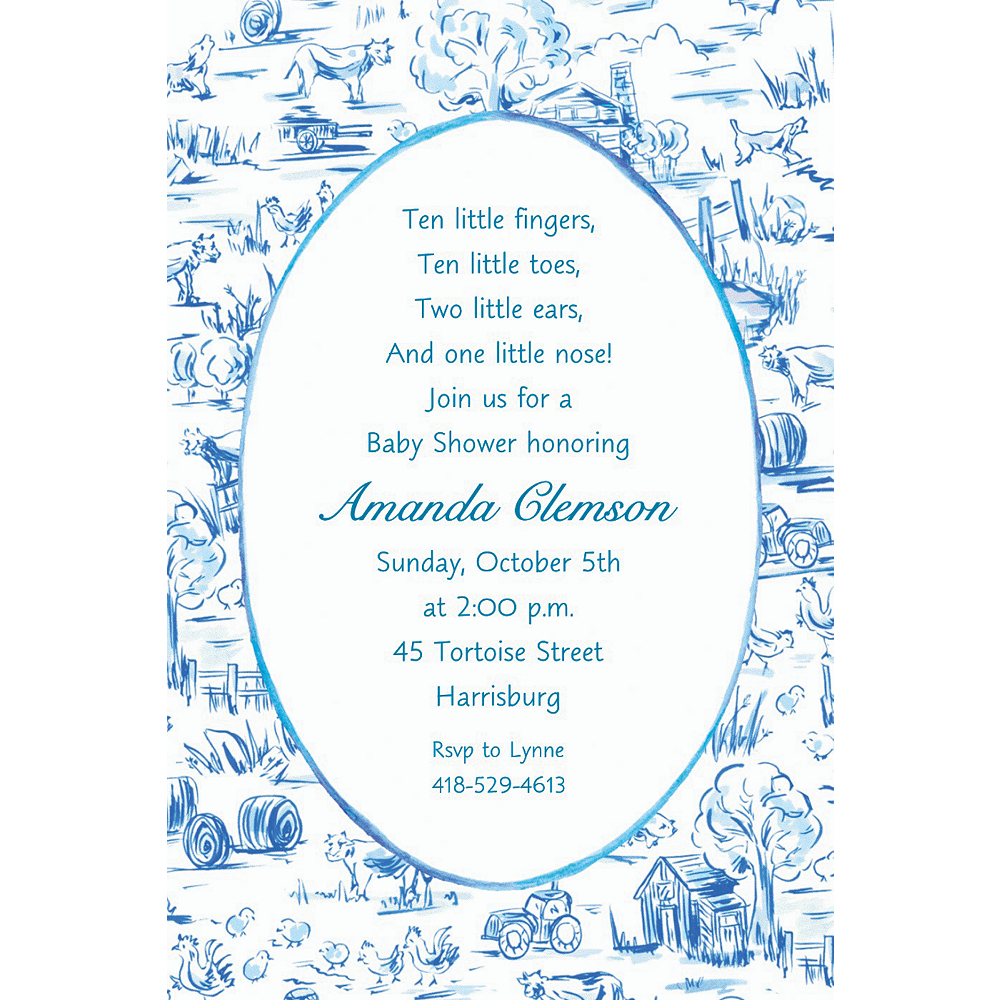 Nav Item for Custom Old MacDonald Toile Baby Shower Invitations Image #1