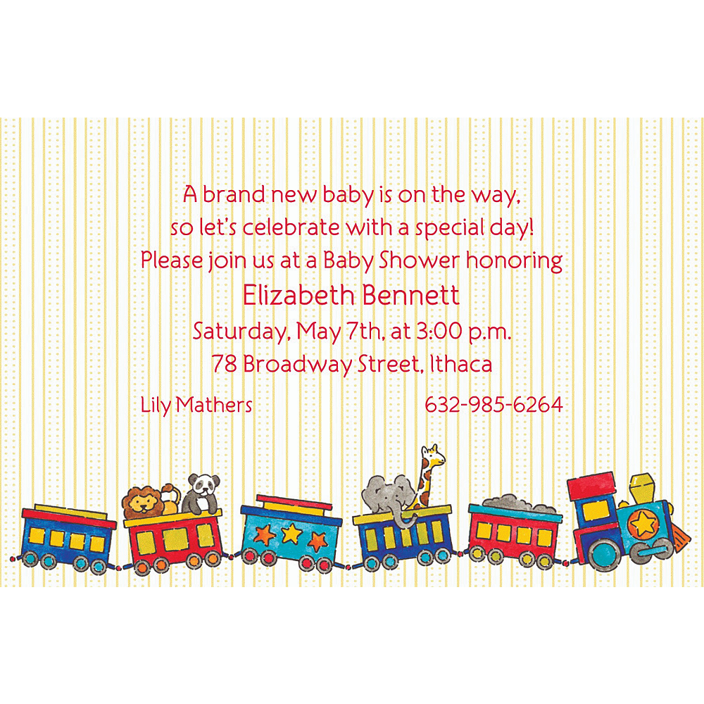 Custom Little Trains Baby Shower Invitations Image #1