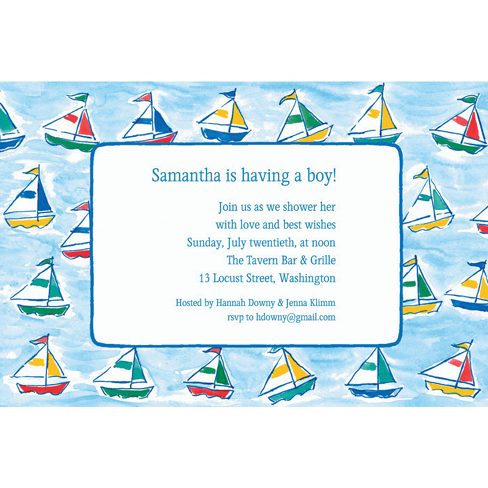 Custom Sailing Sailboats Baby Shower Invitations Image #1