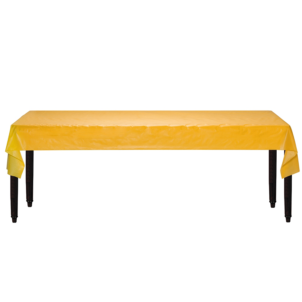 Sunshine Yellow Plastic Table Cover Roll Image #2