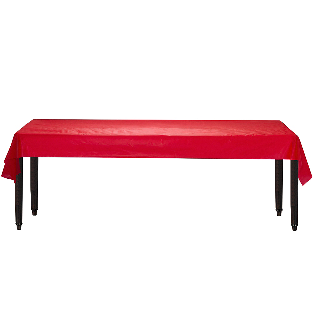 Red Plastic Table Cover Roll Image #2