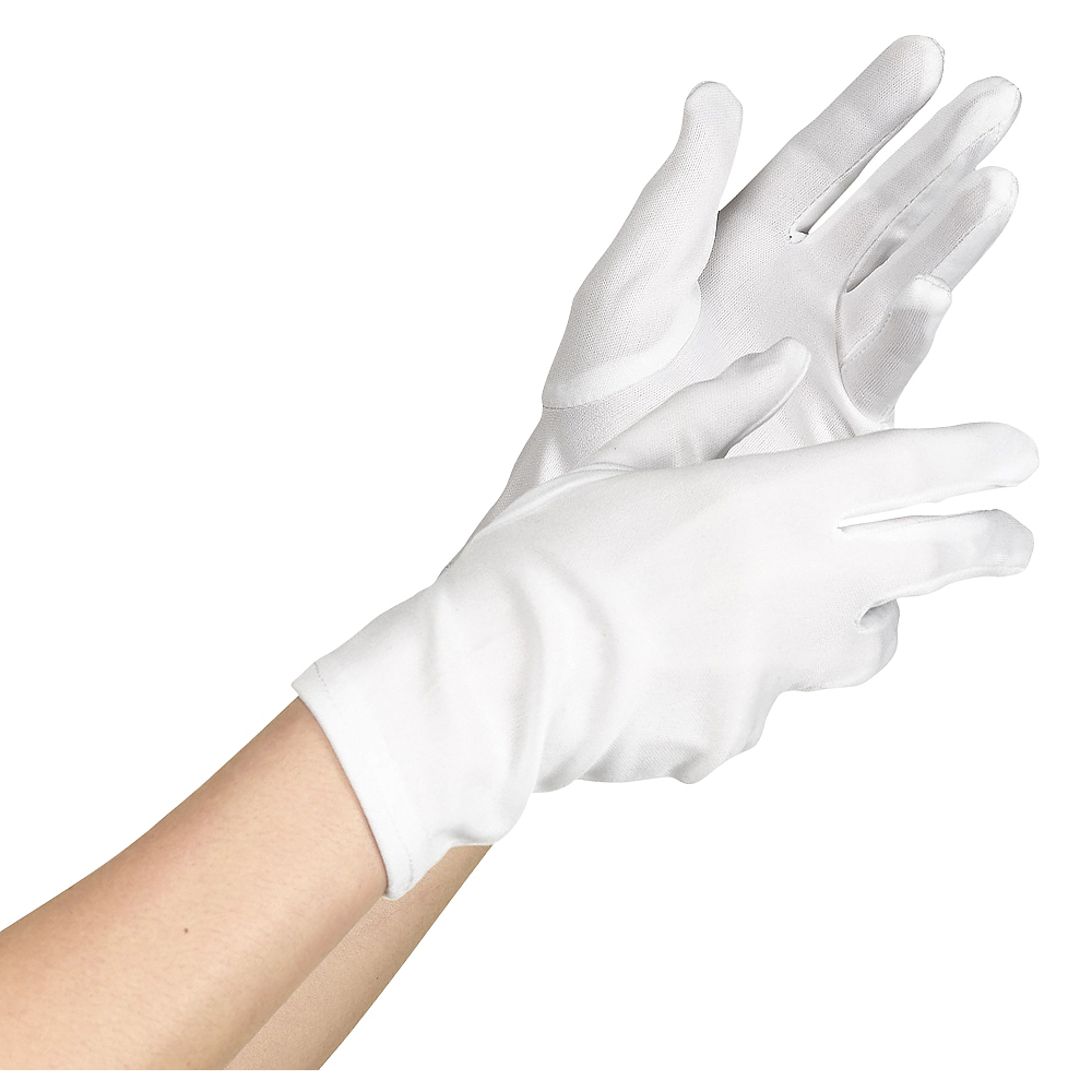 Adult White Cotton Gloves Image #1