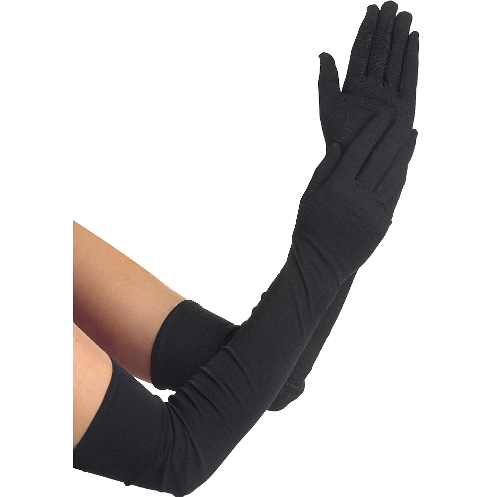 kids Special Occasion Gloves Extra Long Black Gloves | Party City