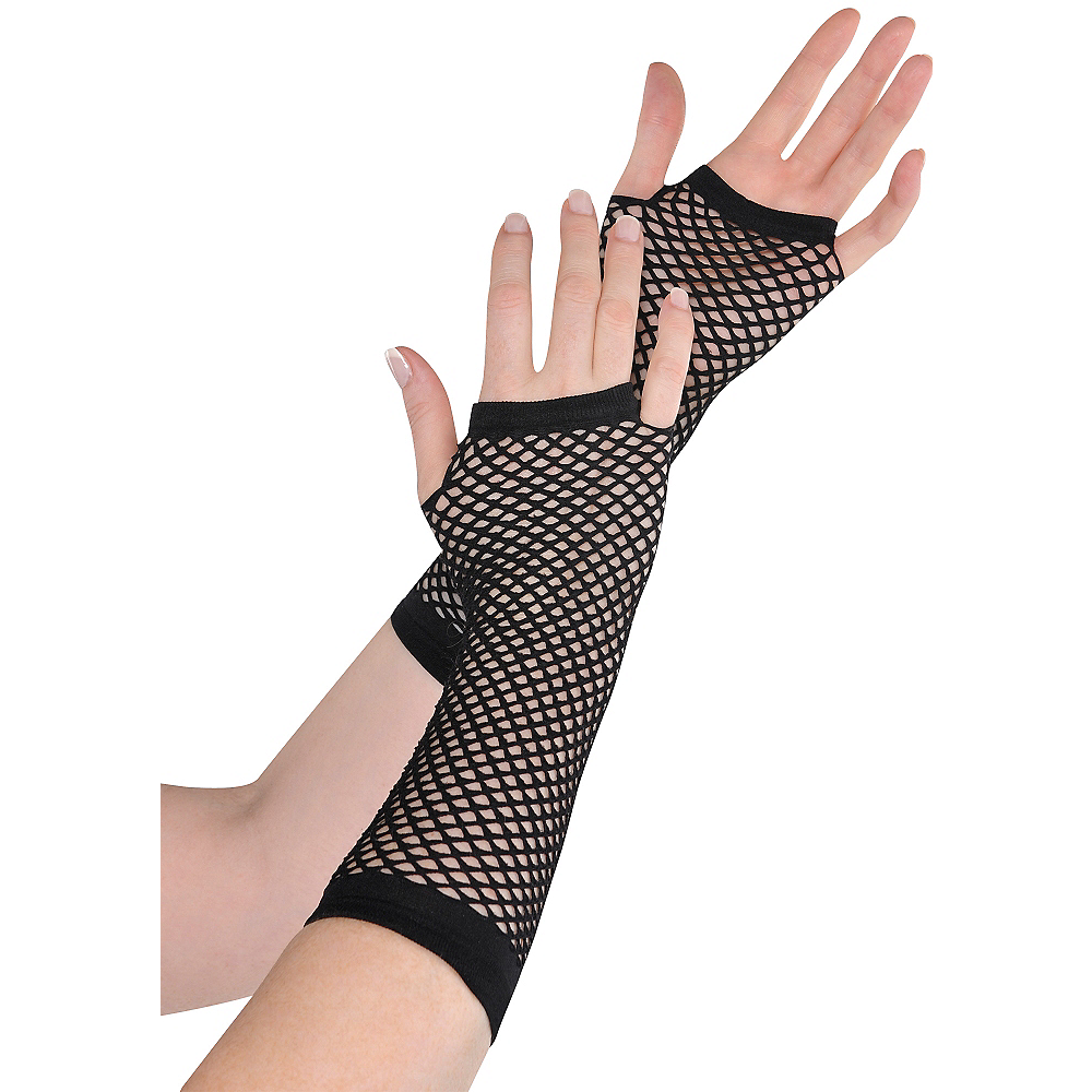 Long Black Fishnet Gloves Deluxe Image #1