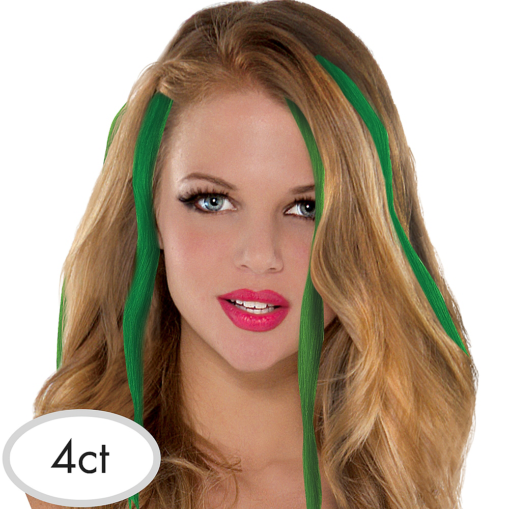 St Patricks Day Green Hair Extensions 4ct Party City