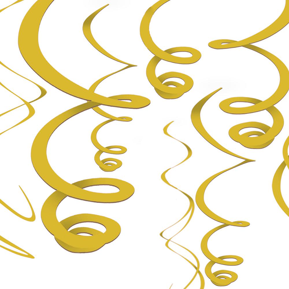 Sunshine Yellow Swirl Decorations 12ct Image #1
