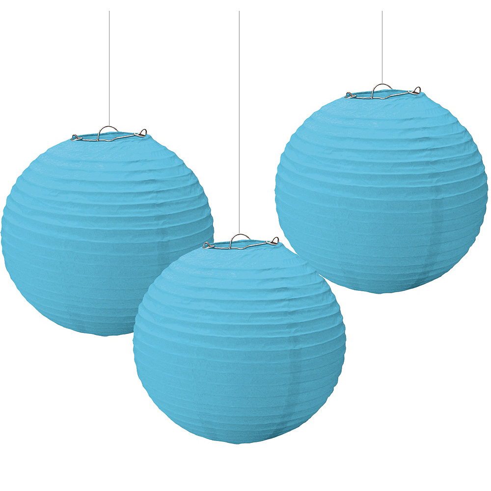 Caribbean Blue Paper Lanterns 3ct Image #1