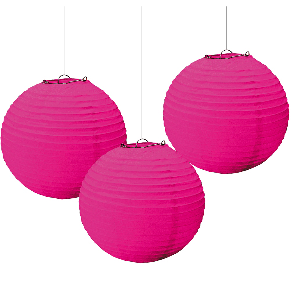 Nav Item for Bright Pink Paper Lanterns 3ct Image #1
