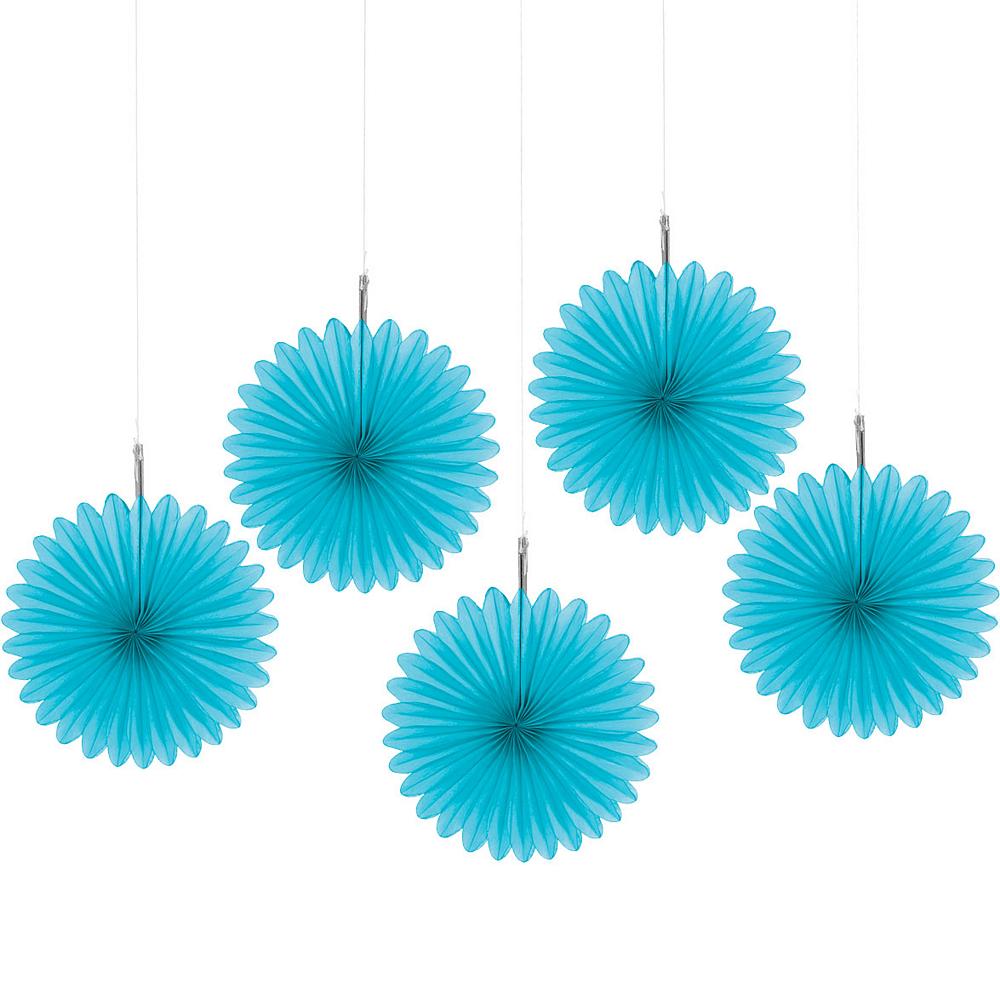 Caribbean Blue Mini Paper Fan Decorations 5ct Image #1