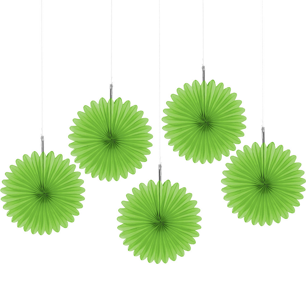 Kiwi Green Mini Paper Fan Decorations 5ct Image #1