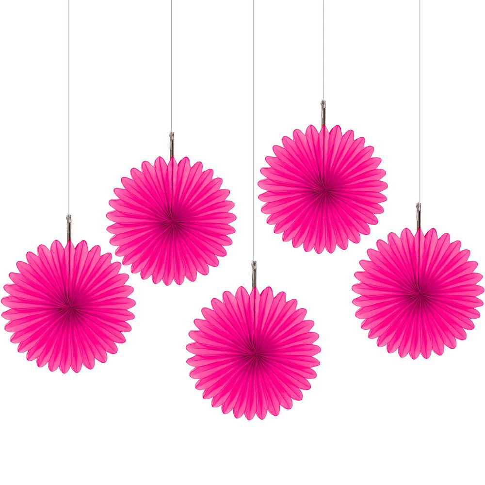 Bright Pink Mini Paper Fan Decorations 5ct Image #1