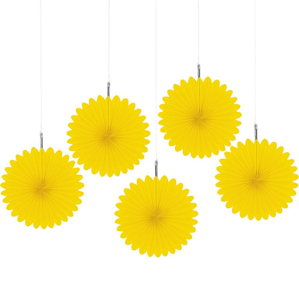 Sunshine Yellow Mini Paper Fan Decorations 5ct Image #1