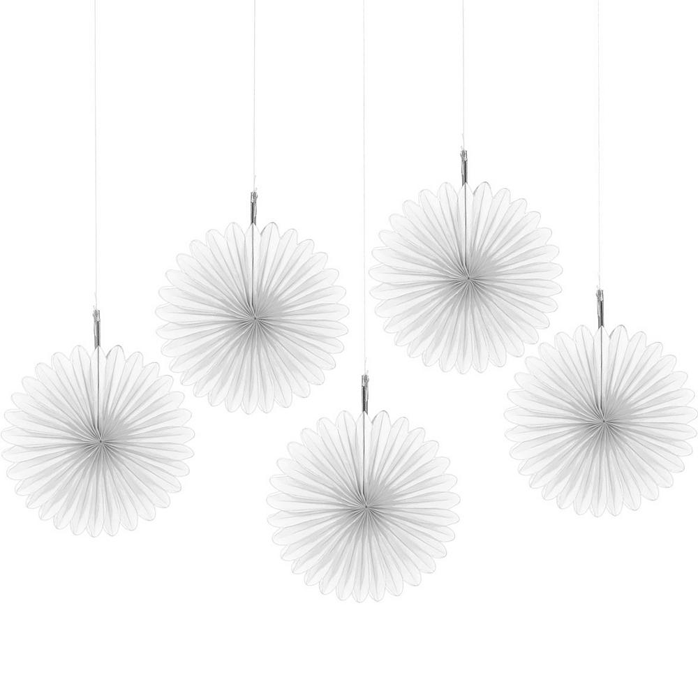 White Mini Paper Fan Decorations 5ct Image #1