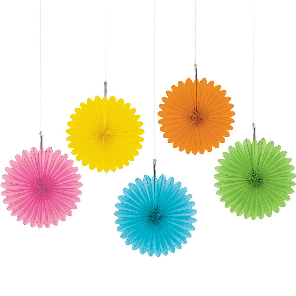 Multicolor Mini Paper Fan Decorations 5ct
