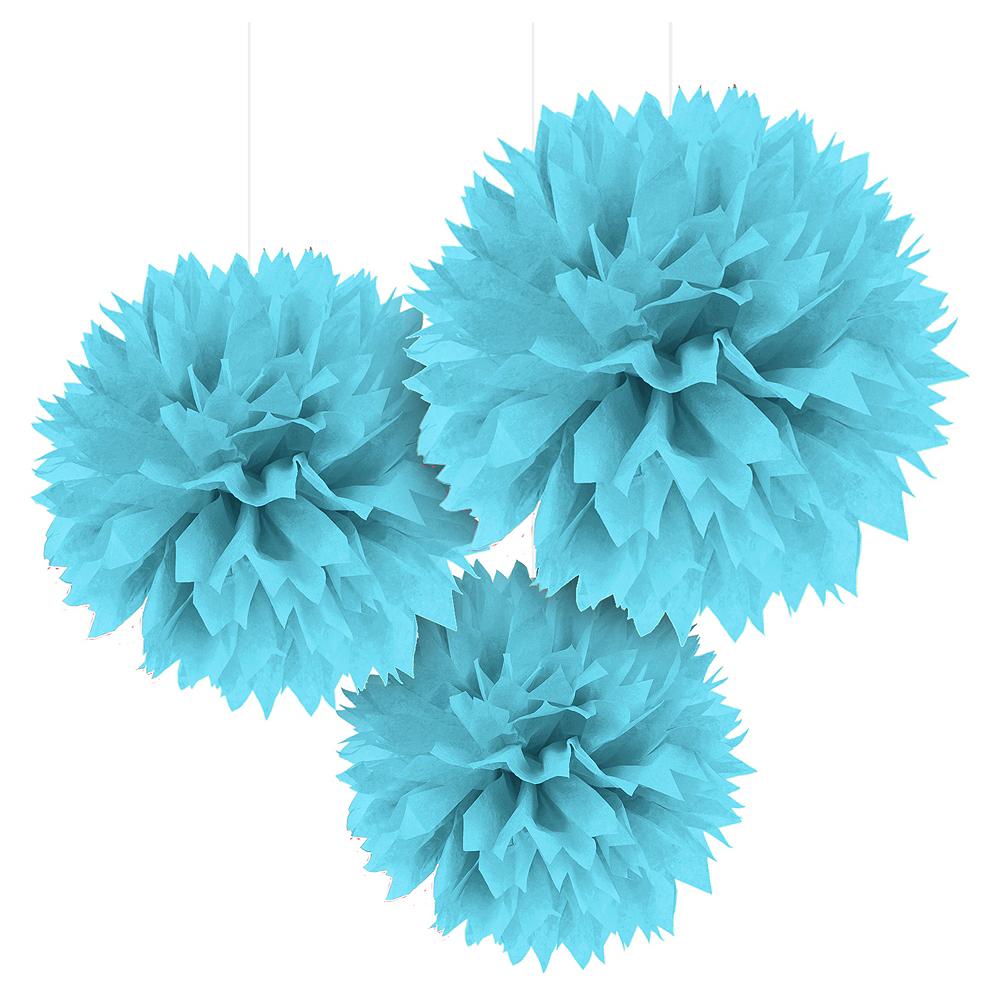 Caribbean Blue Tissue Pom Poms 3ct Party City
