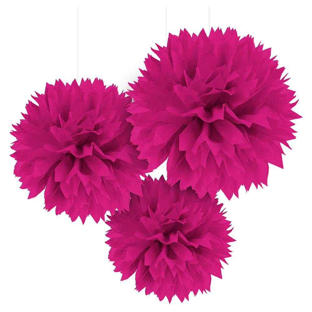 Bright Pink Tissue Pom Poms 3ct Party City