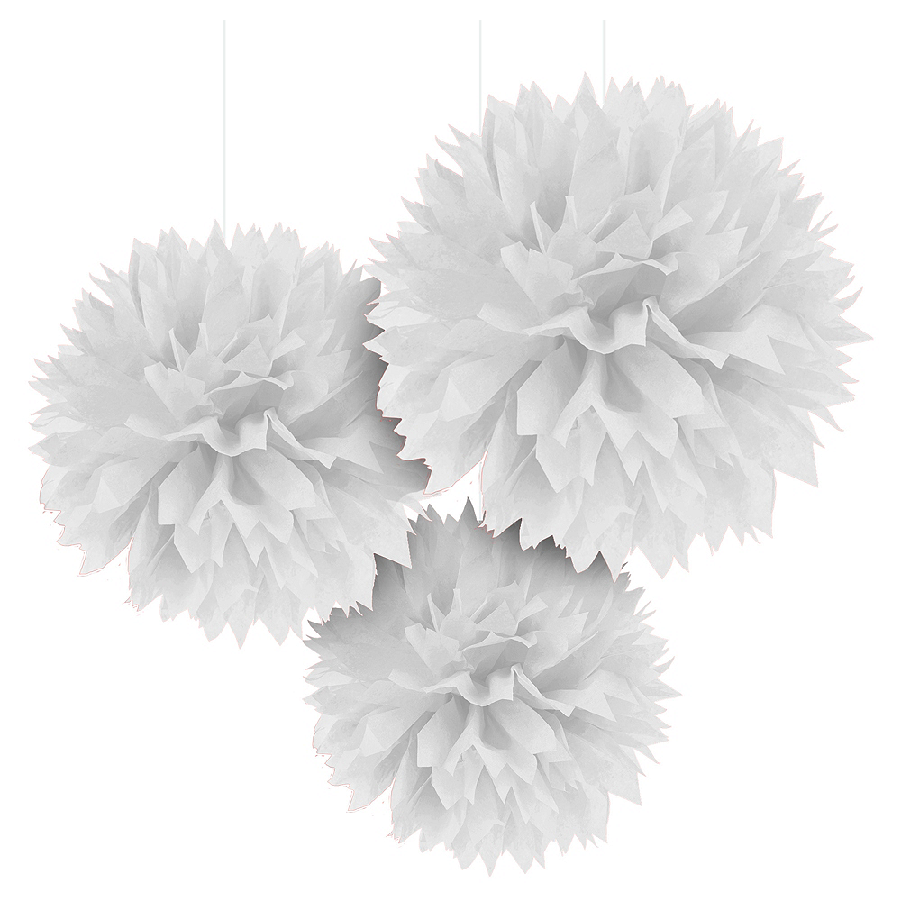 White Tissue Pom Poms 3ct Image #1