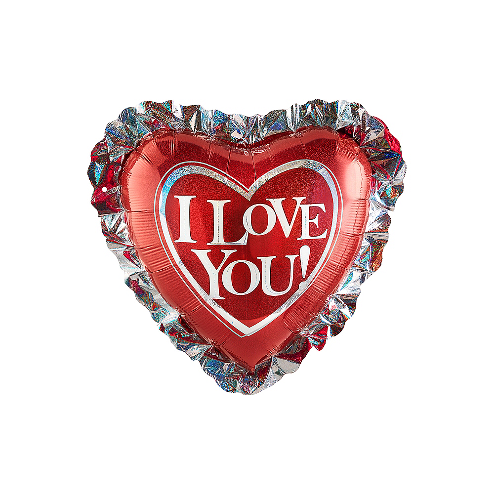 I Love You Balloon - Heart Ruffle, 28in Image #1