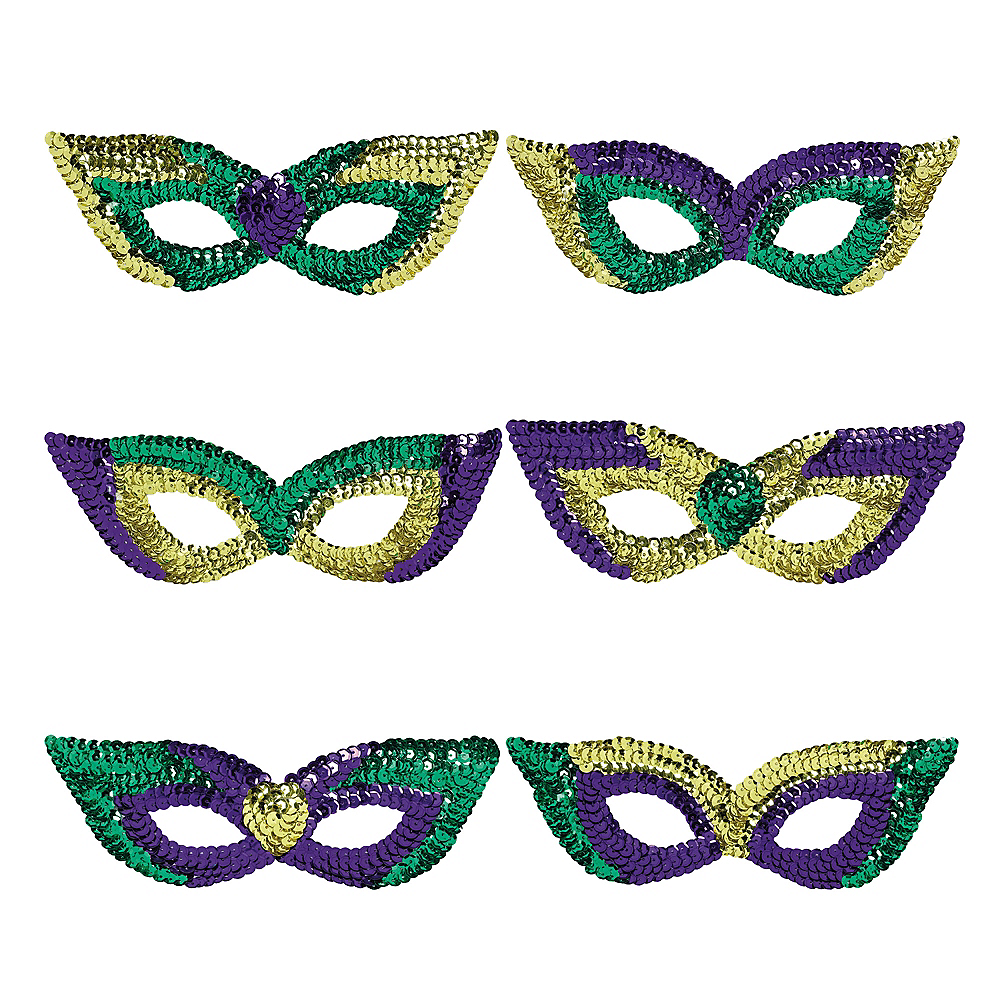 Sequin Mardi Gras Eye Masks 6ct Image #1