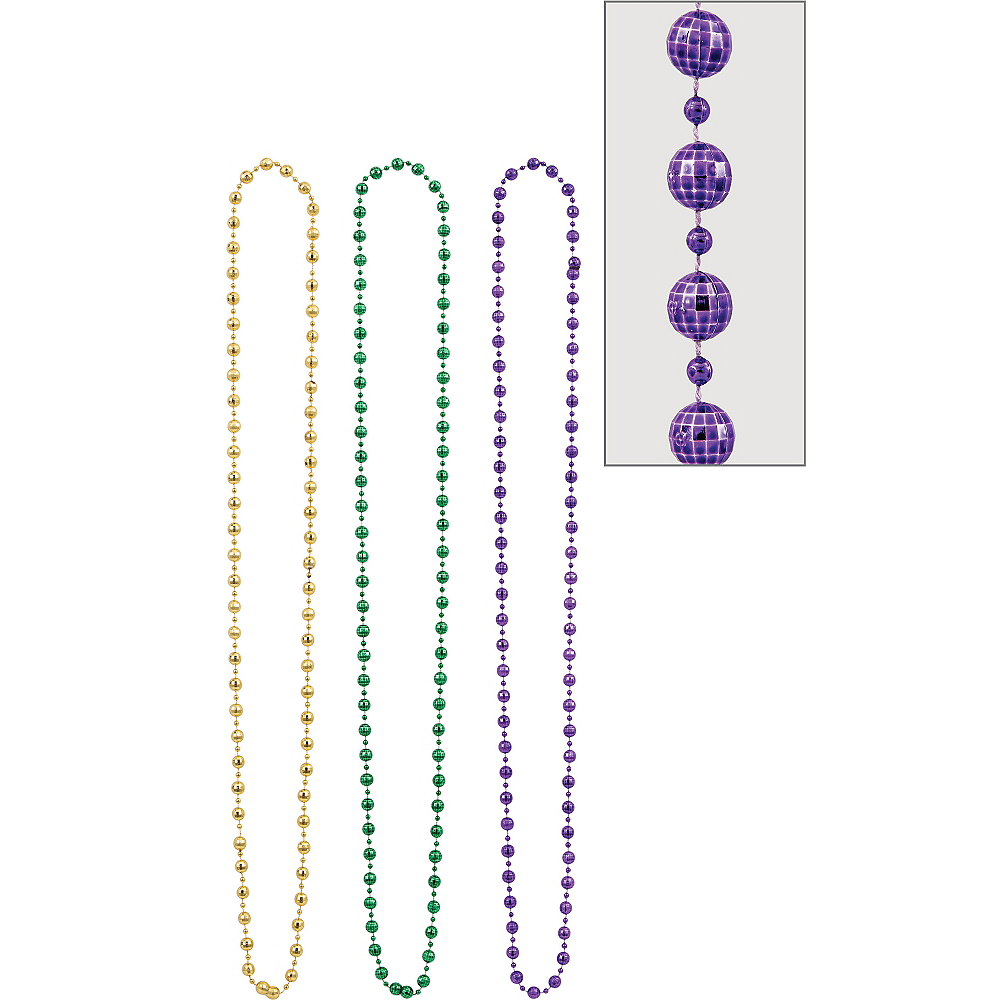 Disco Ball Mardi Gras Bead Necklaces 3ct Image #1