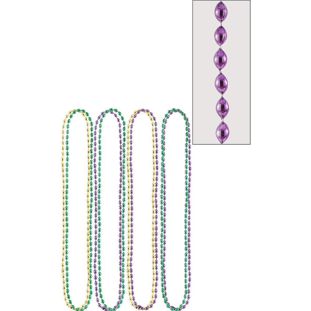 Nav Item for Mardi Gras Bead Necklaces 8ct Image #1