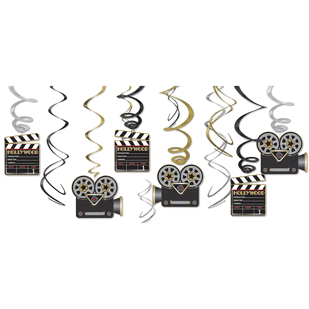 Clapboard Hollywood Swirl Decorations 12ct Image #1