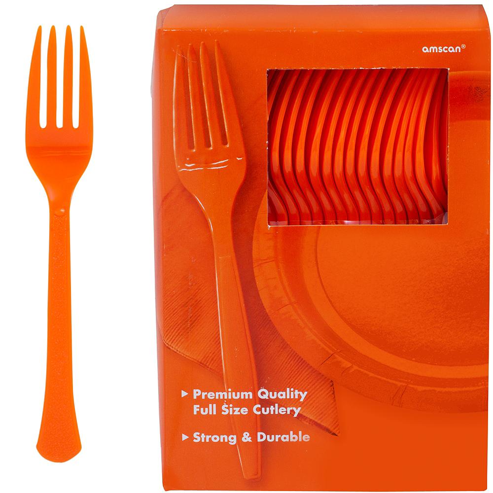 Big Party Pack Orange Premium Plastic Forks 100ct Image #1
