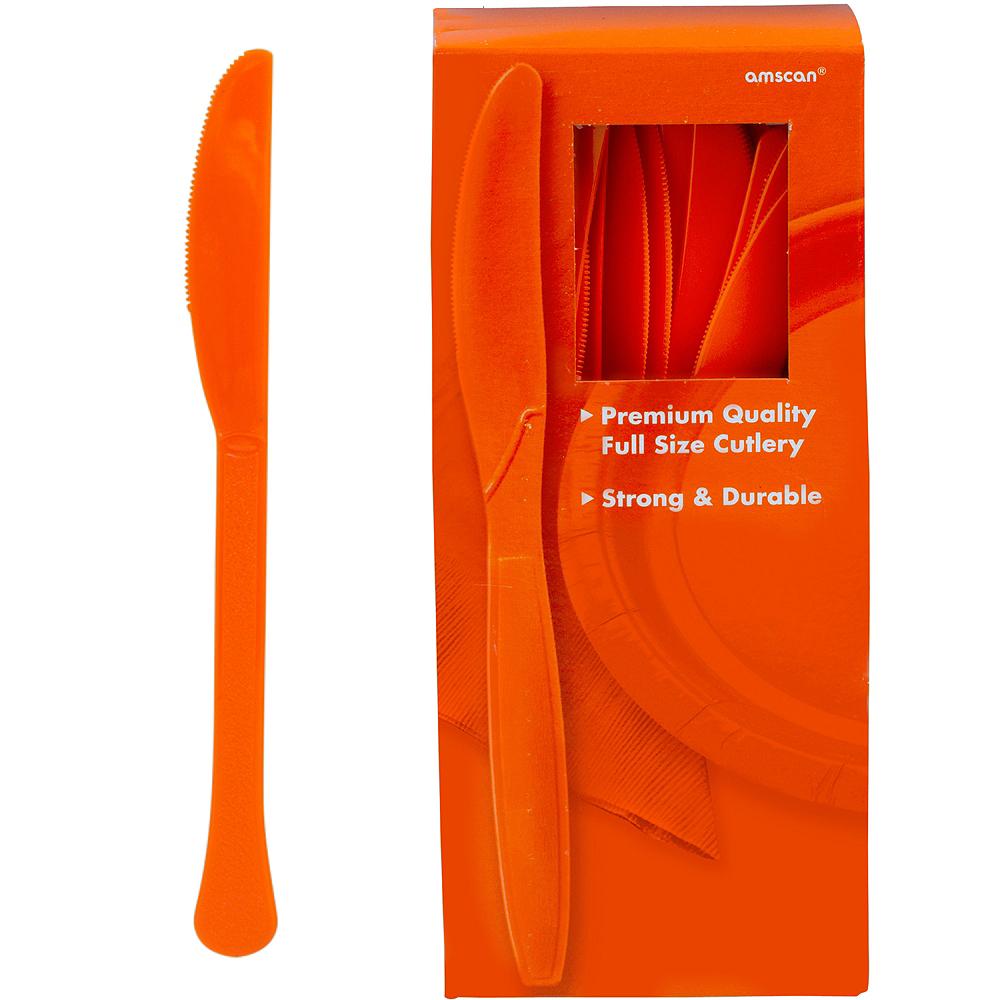 Big Party Pack Orange Premium Plastic Knives 100ct Image #1