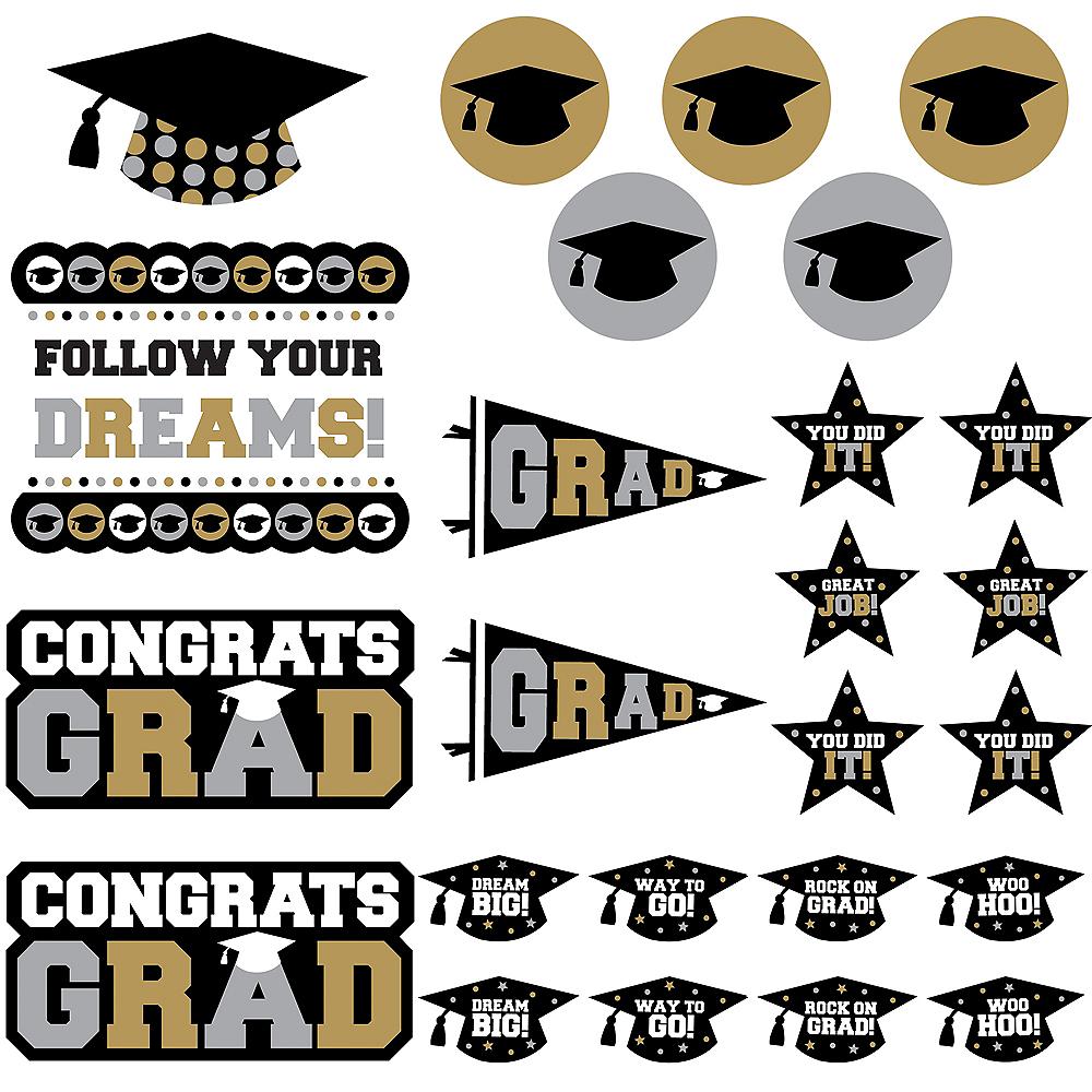 Black, Gold & Silver Graduation Cutouts 30ct Image #1