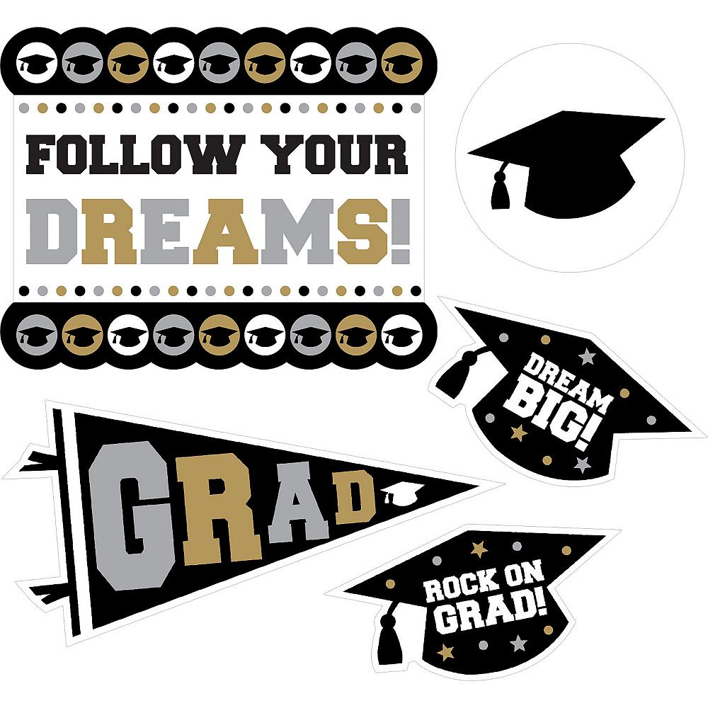 Black, Gold & Silver Graduation Cutouts 30ct Image #2