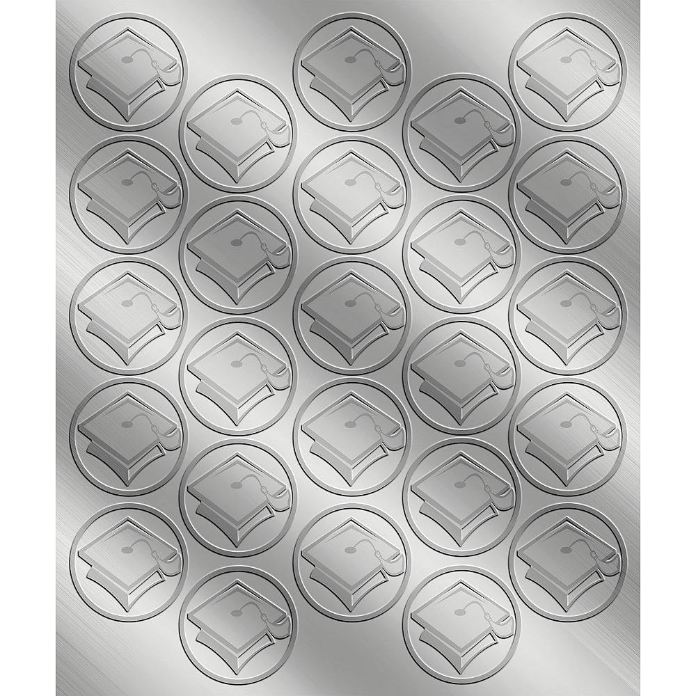 Silver Mortarboard Graduation Sticker Seals 2 Sheets Image #1