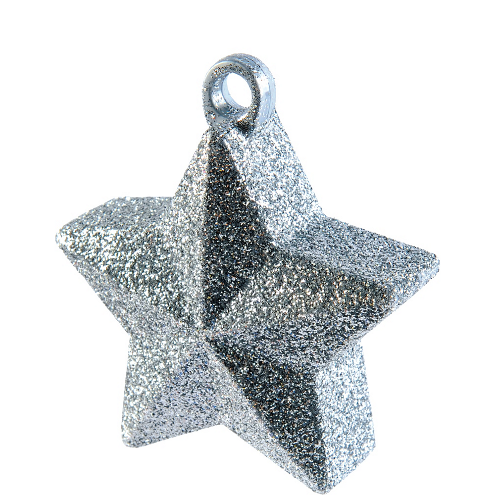 Silver Glitter Star Balloon Weight Image #1