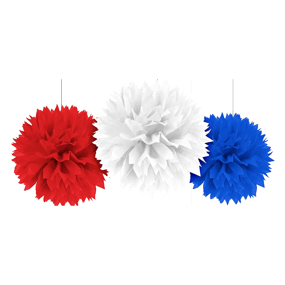 Patriotic Red, White & Blue Tissue Pom Poms 3ct Image #1