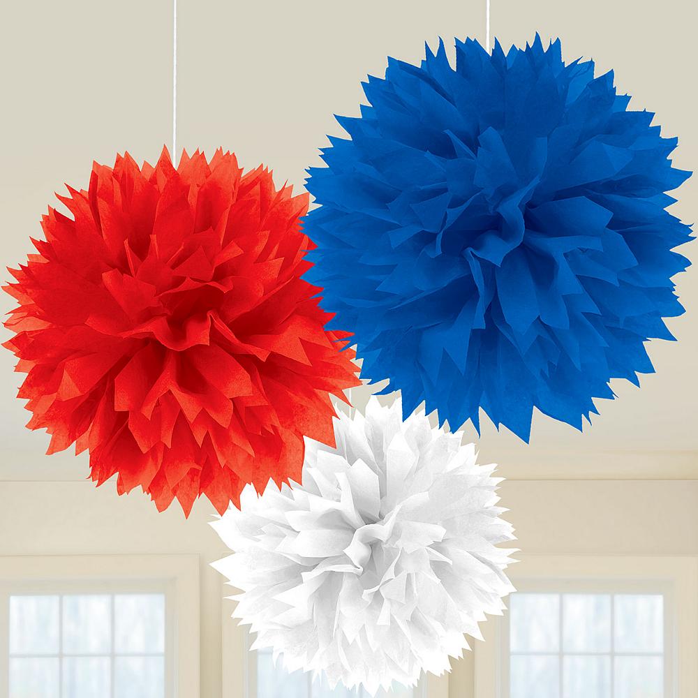 Patriotic Red, White & Blue Tissue Pom Poms 3ct Image #2