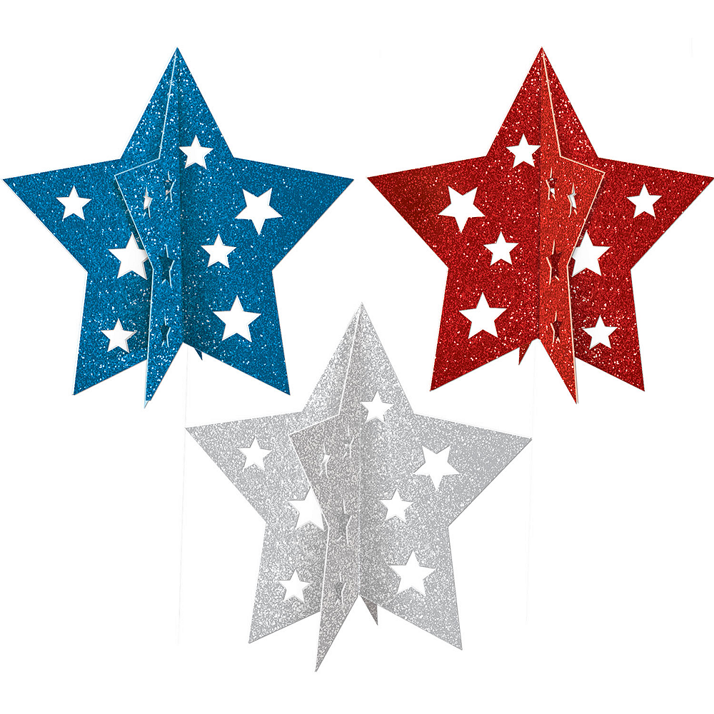 Nav Item for 3D Glitter Patriotic Star Centerpieces 3ct Image #1