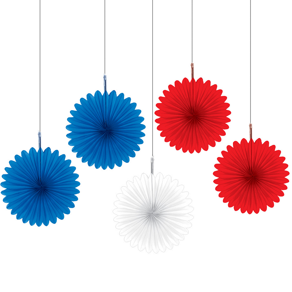 Patriotic Red, White & Blue Mini Fan Decorations 5ct Image #1