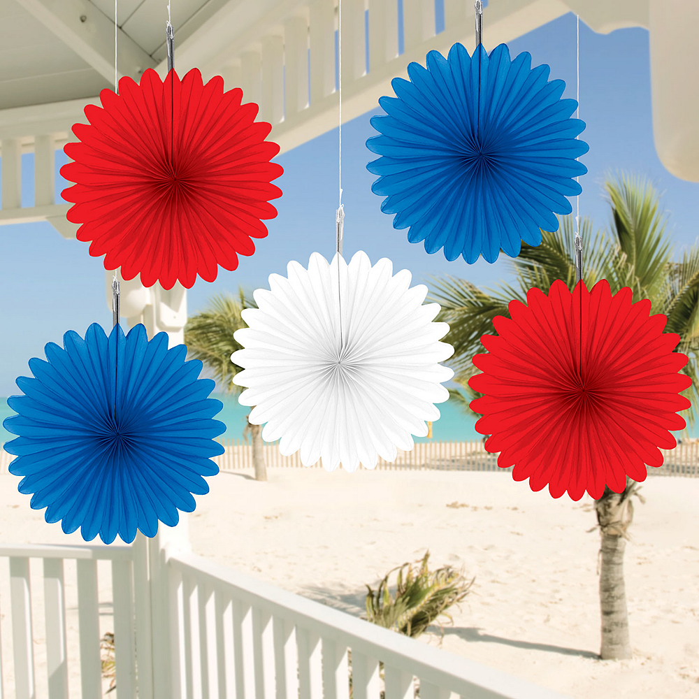 Patriotic Red, White & Blue Mini Fan Decorations 5ct Image #2
