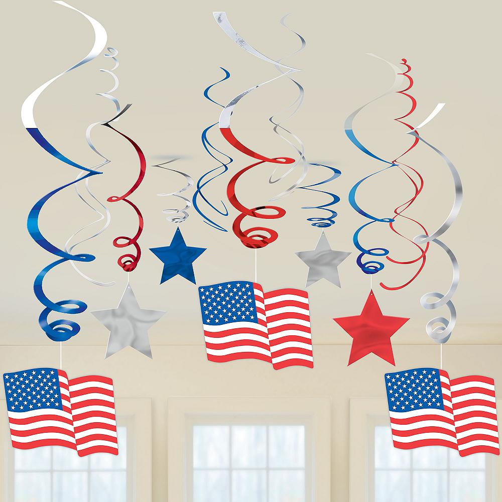 Patriotic American Flag Swirl Decorations 30ct Image #2